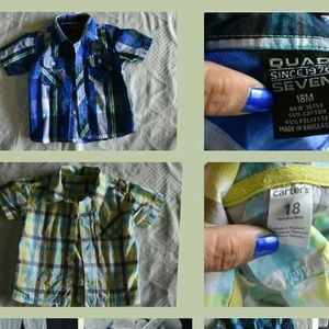 Other - Bundle of 2 button down plaid shirts, size 18m